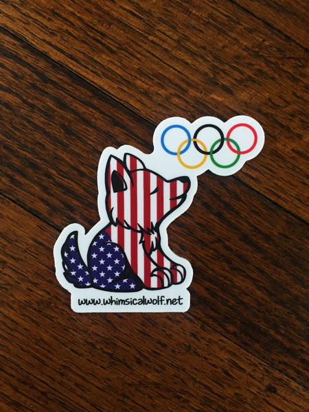 "Patriotic Olympic Whimsical Wolf Pattern Sticker 2.5"" x 2.5"" - Whimsical Wolf"