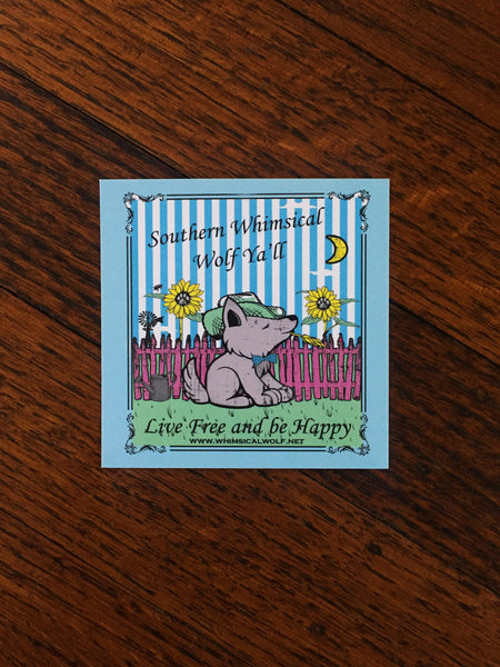 "Southern Whimsical Wolf 3"" x 3"" square sticker - Whimsical Wolf"