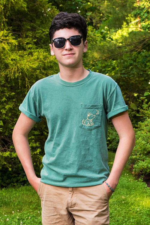 Nature Green Short Sleeve with Vintage Whimsical Wolf Logo - Whimsical Wolf