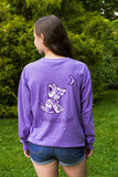Lilac Long Sleeve with Hibiscus Flower Pattern - Whimsical Wolf