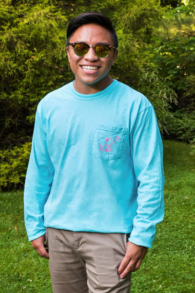 Lagoon Turquoise Long Sleeve with Hibiscus Flower Pattern - Whimsical Wolf
