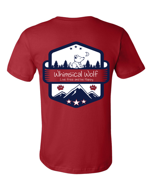 Cardinal Red Short Sleeve Shirt with white and blue Vintage badge design. - Whimsical Wolf