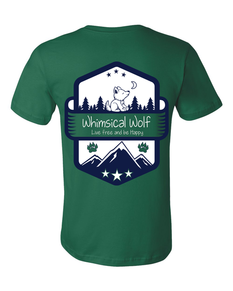 Evergreen Short Sleeve Shirt with white and blue Vintage badge design. - Whimsical Wolf