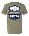 Heather Olive  Short Sleeve Shirt with white and blue Vintage badge design. - Whimsical Wolf
