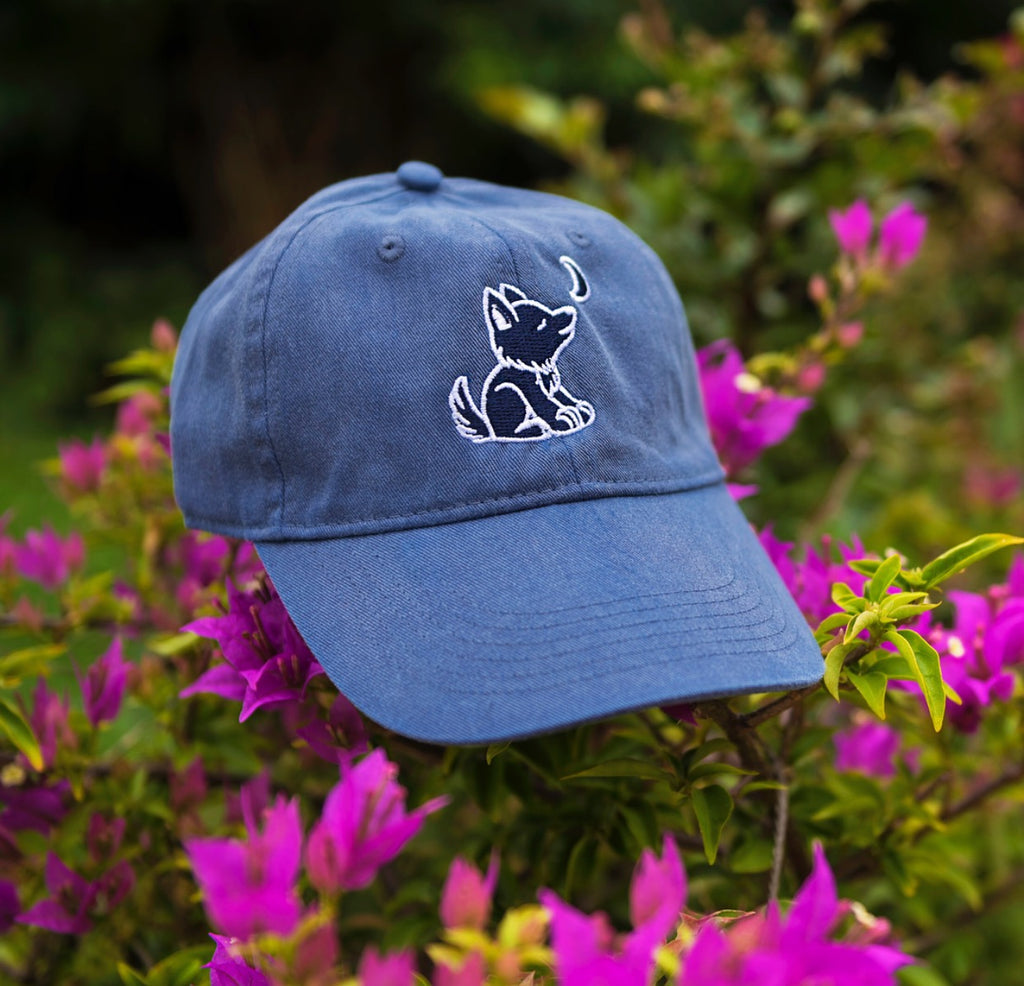 Denim Blue Baseball Cap with Embroidered Wolf Logo in White   Navy Blue - Whimsical  Wolf b36cd3d43db5