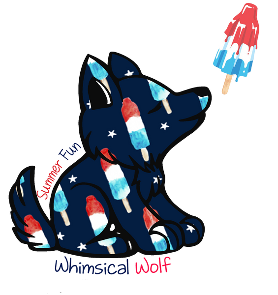 "Bomb Pop Whimsical Wolf Sticker 2.5""x 3"" Summer Special - Whimsical Wolf"