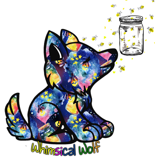 "Firefly Whimsical Wolf Design Sticker 2.5"" x 3.0"" - Whimsical Wolf"