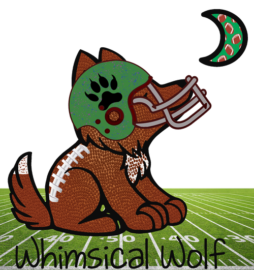 "Football Whimsical Wolf Sticker 2.5"" x 3.0"" - Whimsical Wolf"