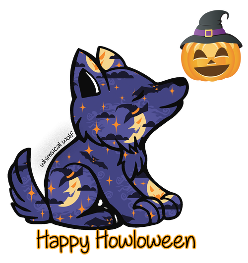 "2018 Halloween Design Sticker 2.5"" x 3.0"" - Whimsical Wolf"