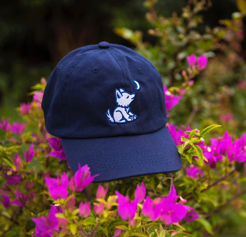 Navy Blue Baseball Cap with Embroidered Wolf Logo in Royal Blue and White - Whimsical  Wolf b730ebb09832