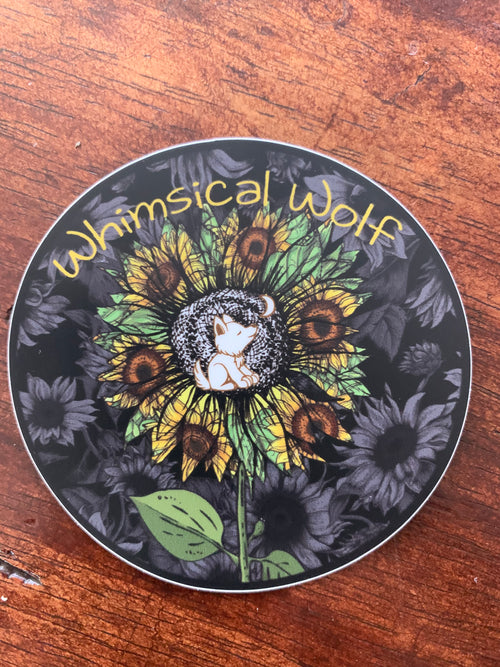 Sunflower Circular Whimsical Wolf Sticker - Whimsical Wolf