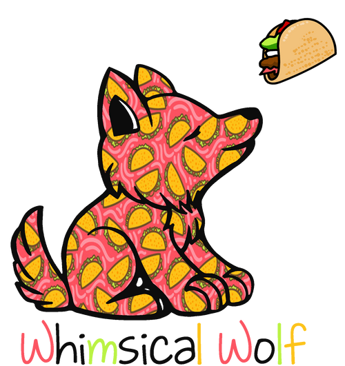 "Taco Tuesday Wolf  Pattern Sticker 3.0"" x 2.75"" - Whimsical Wolf"