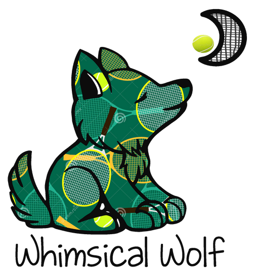 "Tennis Whimsical Circle Design  Sticker 2.5"" x 2.5"" - Whimsical Wolf"