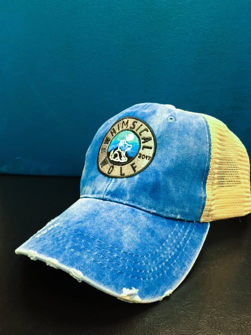 Distressed Royal Blue Trucker Hat with Circle Badge Logo - Whimsical Wolf