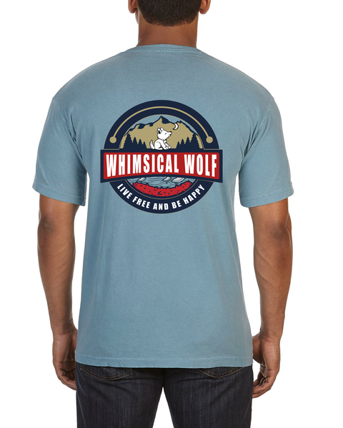 Ice Blue Short Sleeve with Vintage Whimsical Wolf Logo - Whimsical Wolf