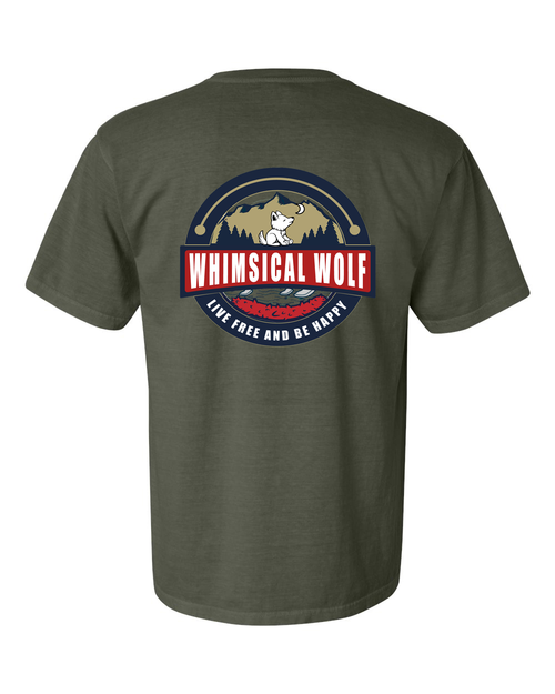 Sage Short Sleeve with Vintage Whimsical Wolf Logo - Whimsical Wolf
