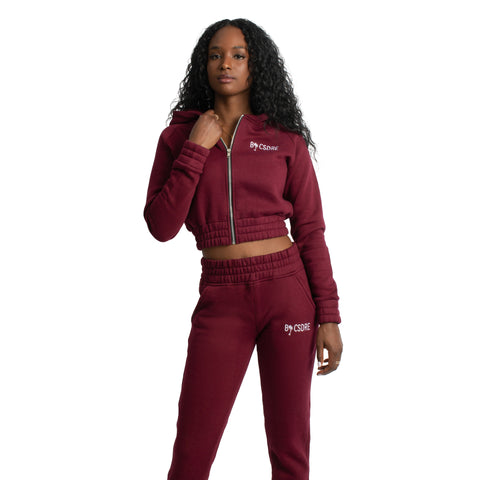 Crop Top Jacket | Burgundy