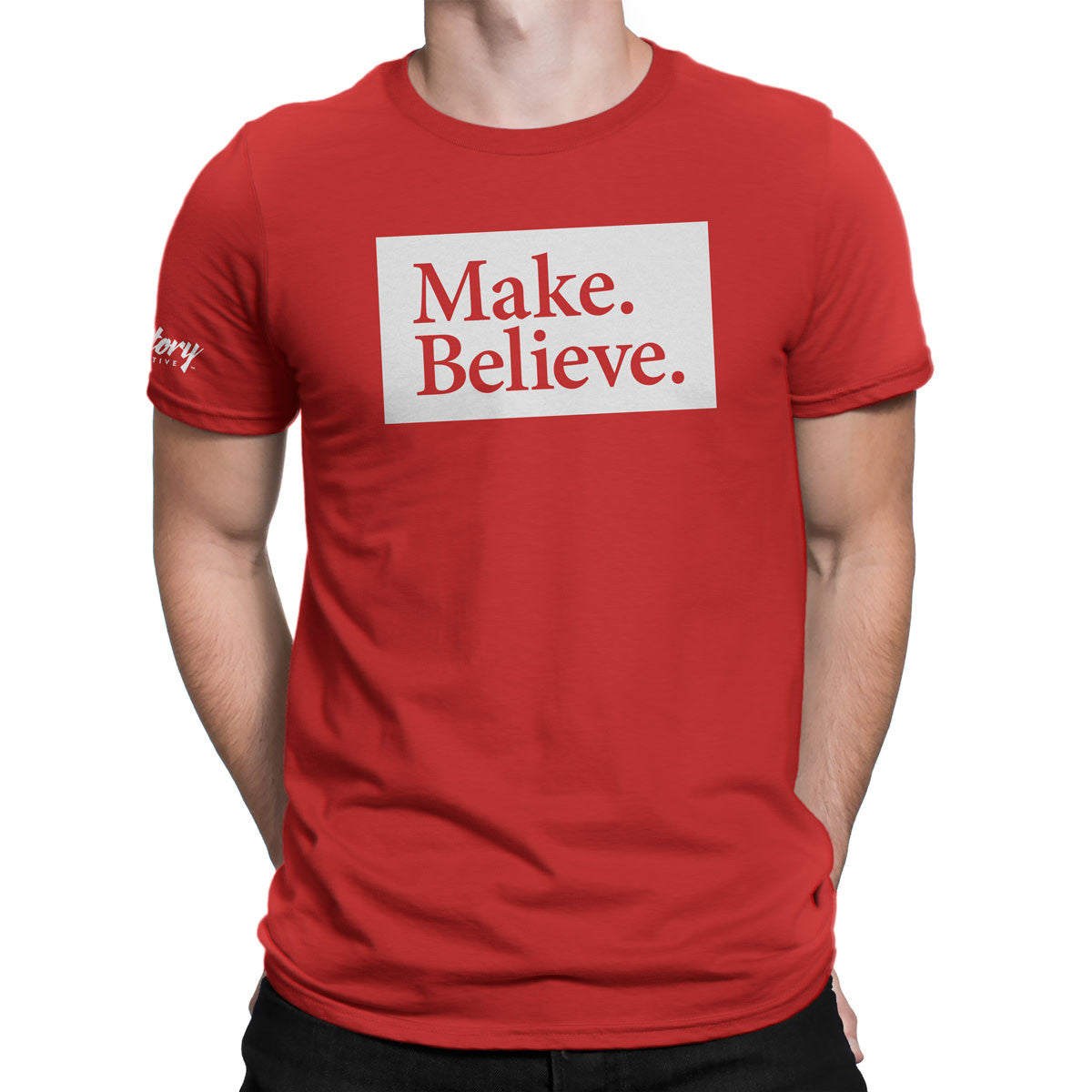 Make. Believe. — Men's T-Shirt (Red)