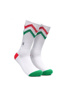 Chrystie C Logo Zigzag Socks Green & Red - Chrystie New York - Aimé Moss Skateboarding Shop
