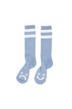 Polar Happy Sad Classic Socks Powder Blue White - Polar Skate Co. - Aimé Moss Skateboarding Shop