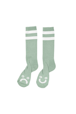Polar Happy Sad Classic Socks Sea Foam Green White - Polar Skate Co. - Aimé Moss Skateboarding Shop