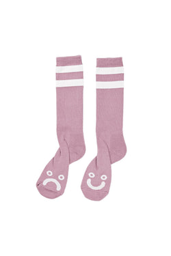 Polar Happy Sad Socks Dusty Rose - Polar Skate Co. - Aimé Moss Skateboarding Shop