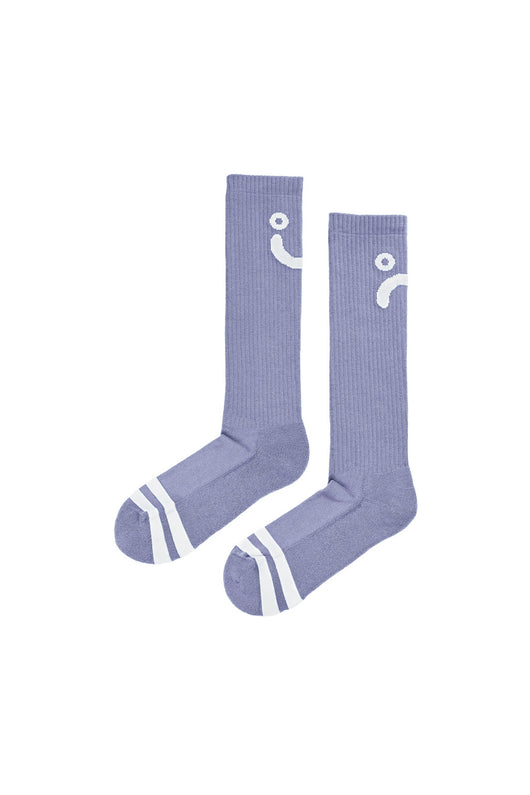 Polar Upside Down Happy Sad Socks Lavender White - Polar Skate Co. - Aimé Moss Skateboarding Shop