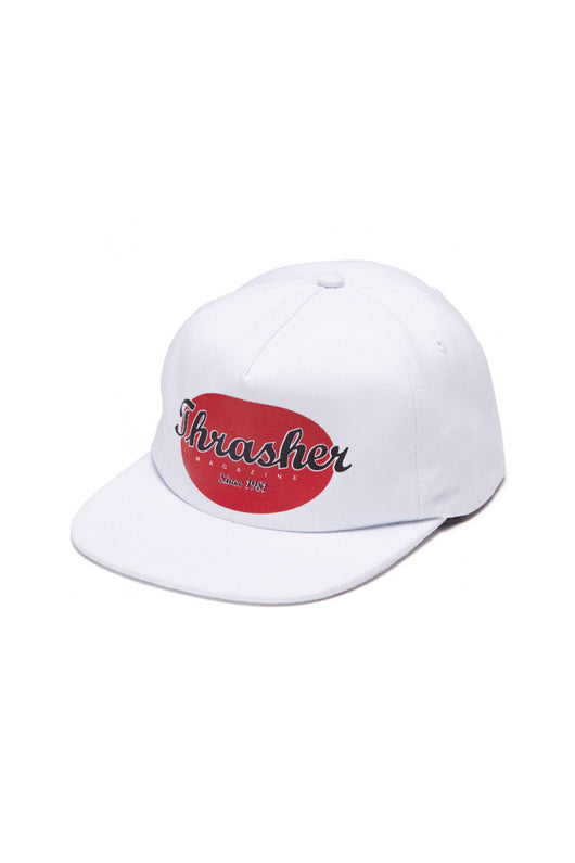 Thrasher Oval Snapback Hat White - Thrasher - Aimé Moss Skateboarding Shop