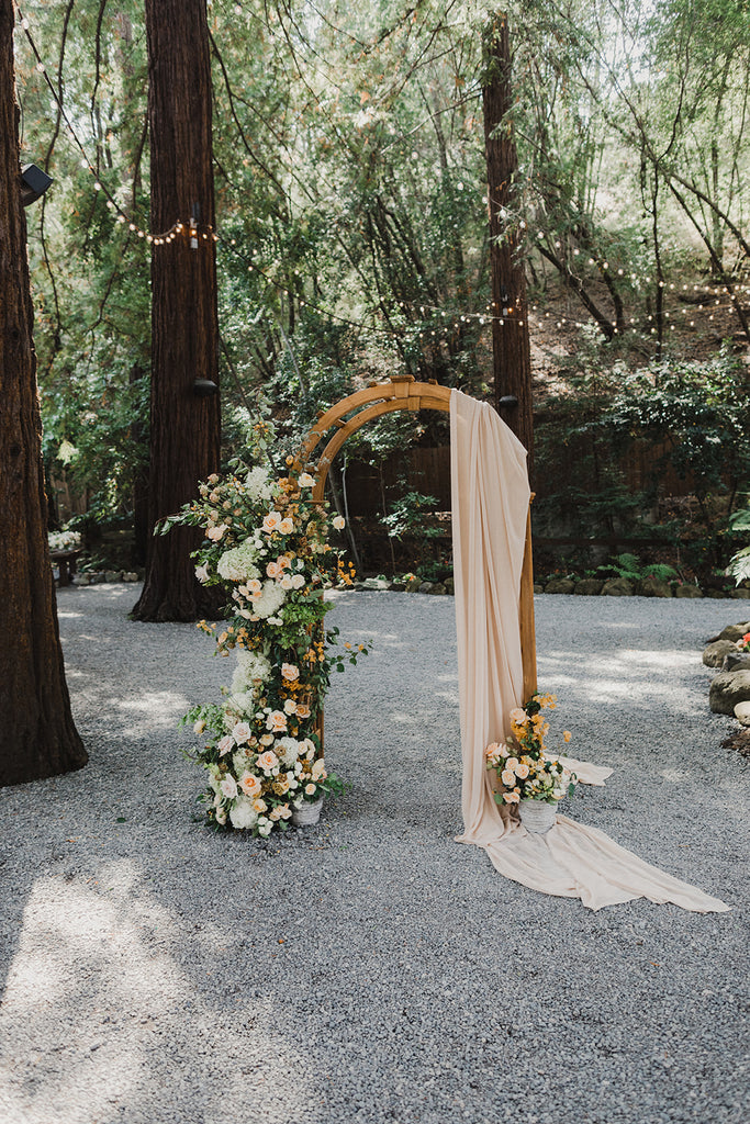 rustic eclectic wedding arch details