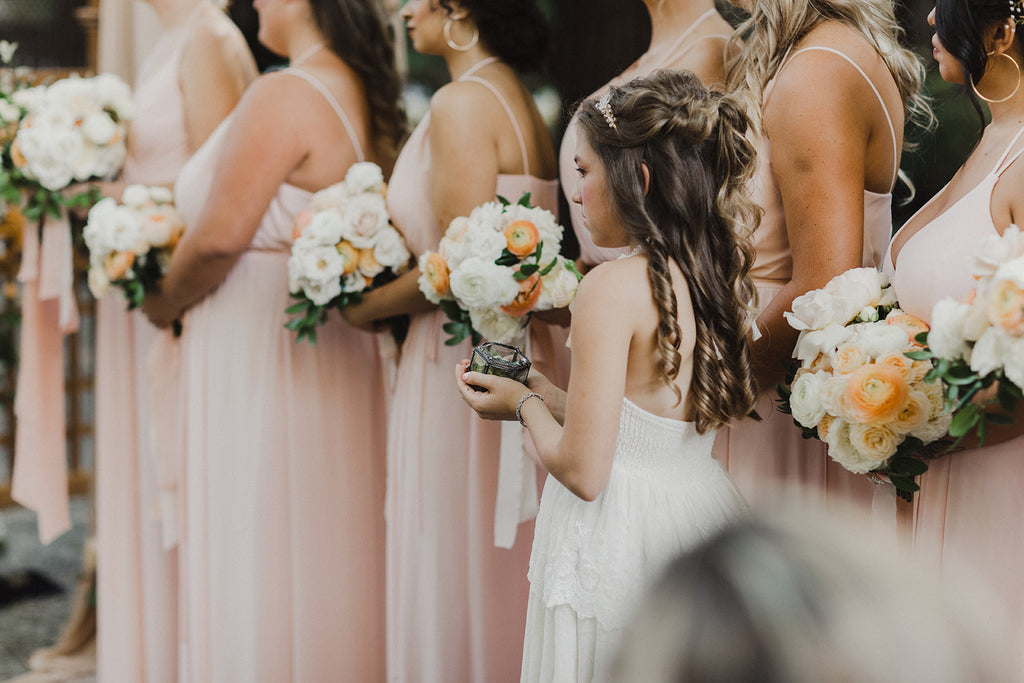 rustic flower girl and bridesmaids