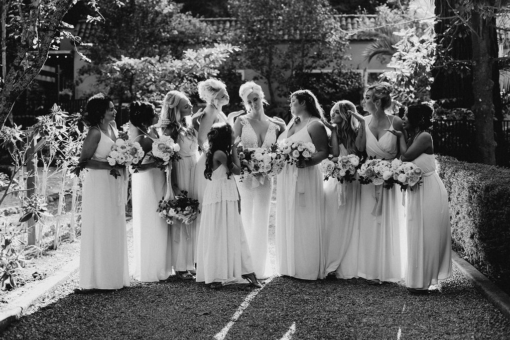 rustic eclectic wedding party flower girl b&w