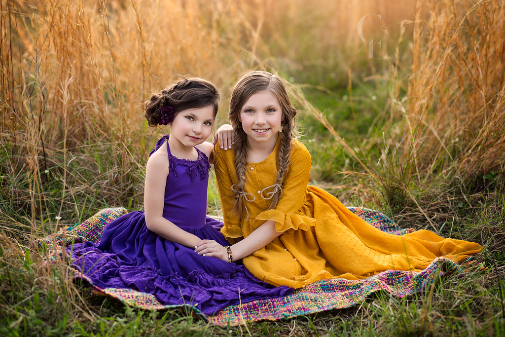 bohemian sister maxi dresses photoshoot inspiration - Belle & Kai