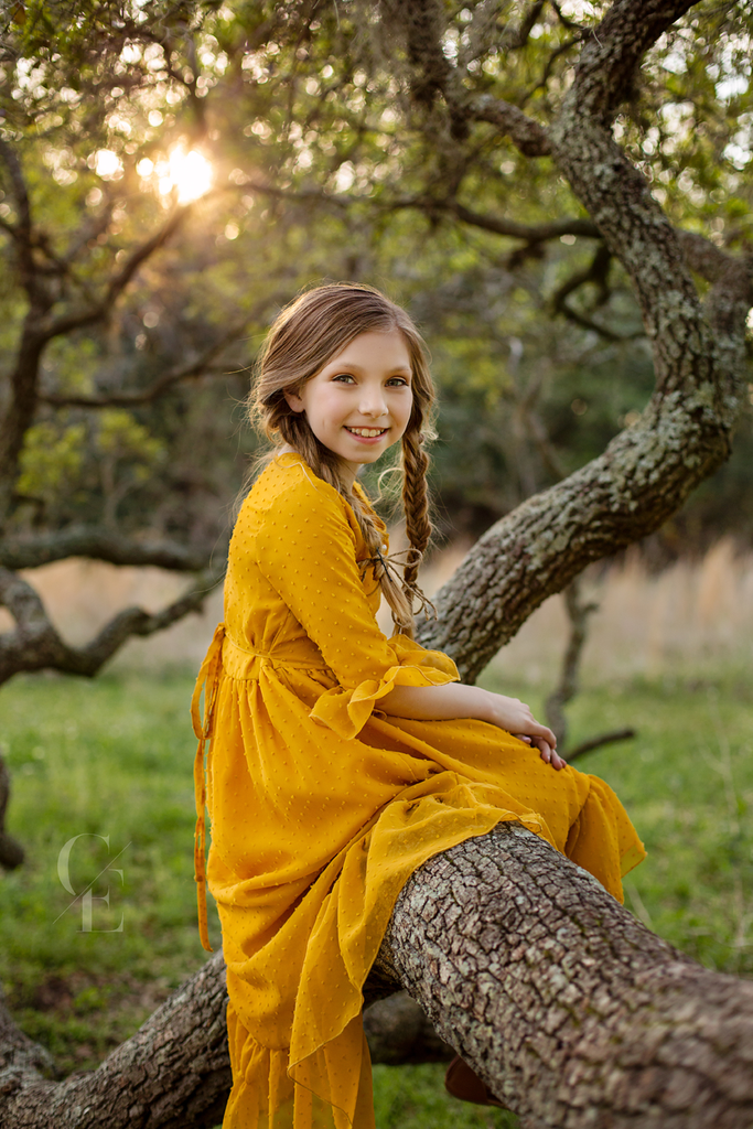 Mara mustard yellow high low maxi dress for a boho inspired photoshoot- Belle & Kai