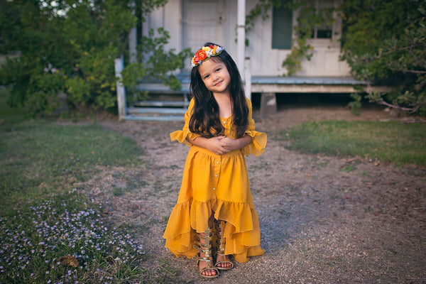 Belle & Kai - Mustard Yellow Mara Dress
