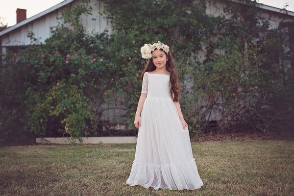 boho lace flower girl first communion dress