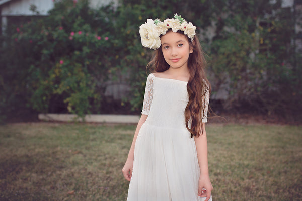 bohemian lace white flower girl first communion dress