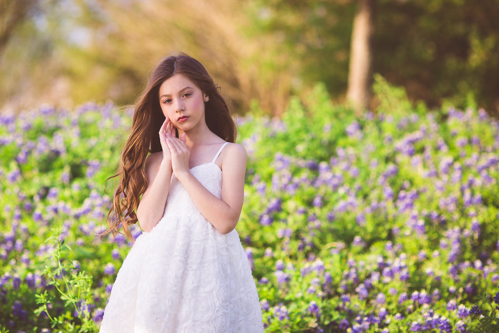 boho lace white flower girl dresses Texas bluebonnet photoshoot ideas for kids