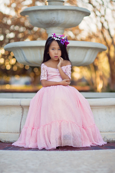blush pink lace flower girl dresses