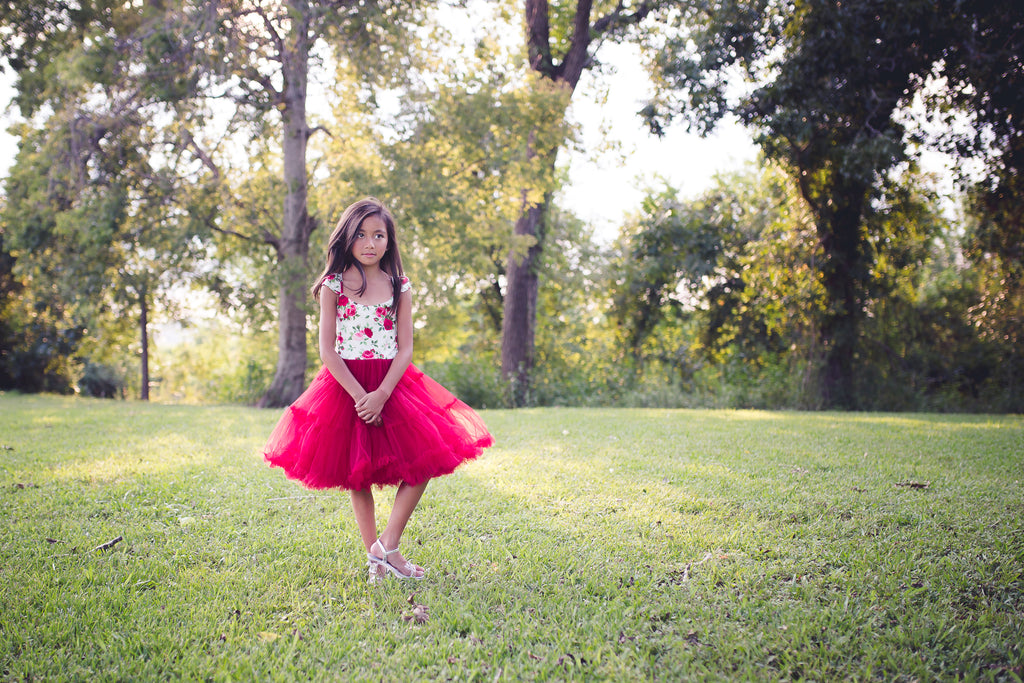 red floral Christmas holiday tutu twirl tulle dress toddler girl tweens