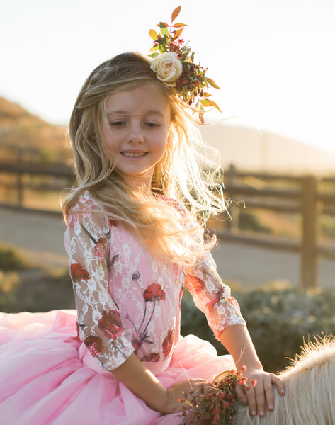 boho flower girl in pink