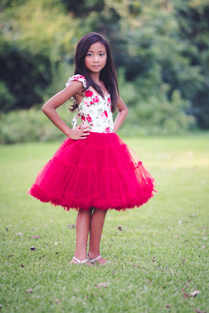 red floral toddler girl Christmas tutu twirl dress