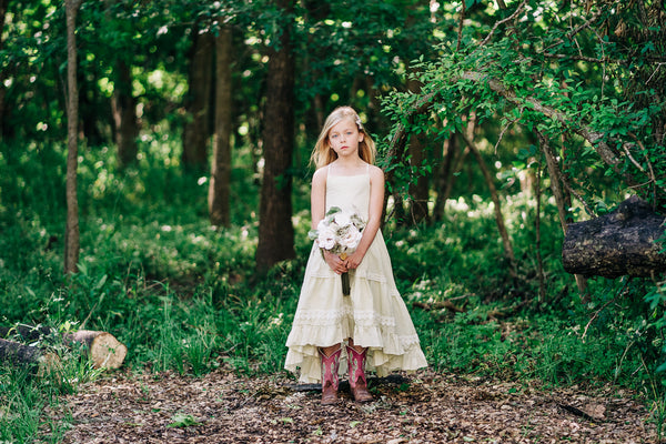 rustic flower girl high low dress