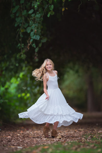 Willow Boho Dress in White Twirling