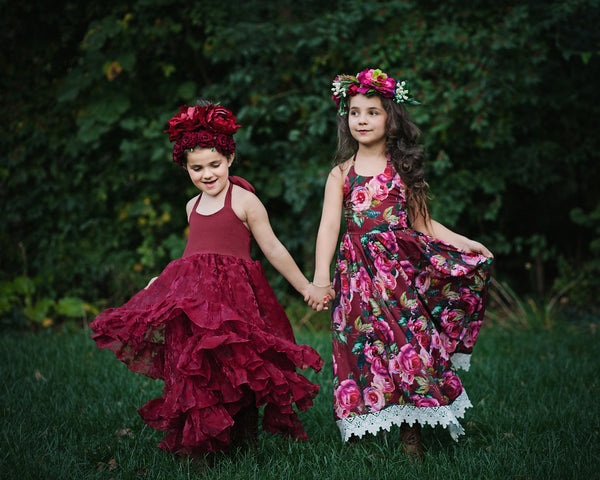 burgundy flower girl dresses