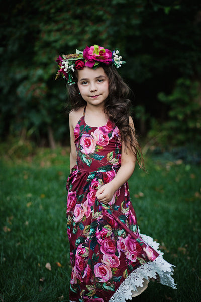burgundy floral dress for girls