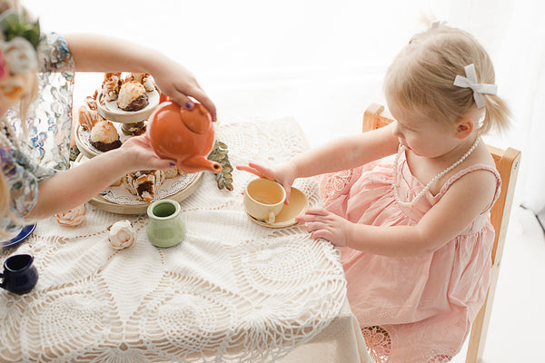 kids vintage tea party backlighting photography photoshoot ideas - Belle & Kai