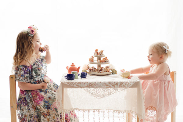 girls vintage floral lace maxi dress tea party photoshoot - Belle and Kai