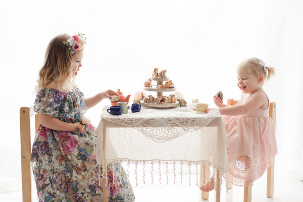 vintage tea party photoshoot floral lace dress - Delphine - Belle & Kai