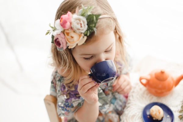 kids tea party photoshoot idea and vintage lace maxi dress - Belle & Kai