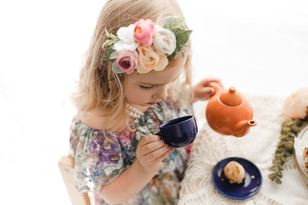 kids vintage tea party backlighting photoshoot idea - Belle & Kai